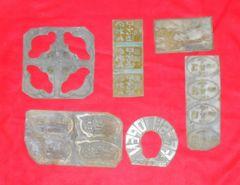 古いラベル類の金属製印刷用の金型6枚セットです