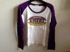 ラグランTシャツ紫色パープル白色ホワイト
