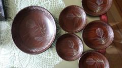 大皿 & 小皿5 茶色 ウッド プラコーティング リーフ柄6点セット
