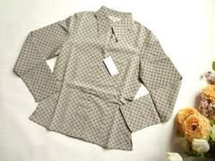 新品ELLESAISON幾何学柄ブラウス長袖シャツ茶Sサイズ7号