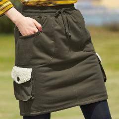 新品冬用大きいサイズ裏ボアスカートカーキ色8L