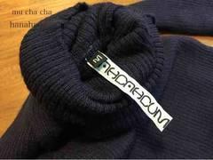 mu cha cha*定番wool100%リブタートルネックニット110〜120紺色