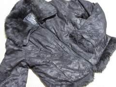 未使用タグ付☆フェイクファームートン風ジャケット*ブラック