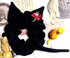 ハンドメイド*・゚大人ガーリーな黒猫モチーフシュシュ☆彡猫耳&シッポ