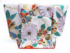 正絹ミニチュア着物=振袖&衣桁セット白地古典花 インテリア飾り