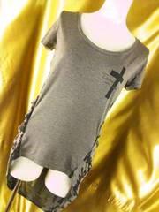 背中クロス&柄後ろが長いテールラインTシャツM