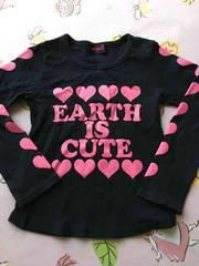 ★EARTHMAGIC120cm女の子ロンTアースマジックハートロゴ黒ピンク