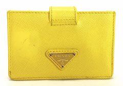 正規プラダカードケース名刺入れサフィアーノレザーイエロー黄色1M1211レディースPRADA
