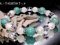 天然石★母貝マザーオブパール&タ-コイズ&高級天然水晶AAA数珠