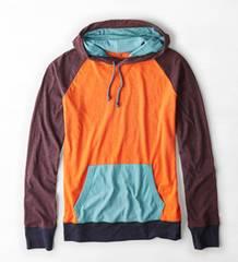 【American Eagle】AEOカラーブロックフーディーTシャツ XS/バーシティーオレンジ