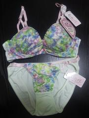 新品 ブラショーツセット(B70・M)薄い緑×青・緑・ピンク花柄レース