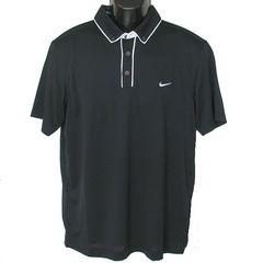 新品●NIKE 黒ステイクール白縁ポロシャツ(L)