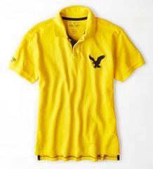 【American Eagle】ビッグイーグルロゴ AEOポロシャツ XL/Yellow