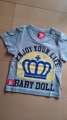 新品カスレTシャツ80グレー★ベビドBABYDOLLベビードール
