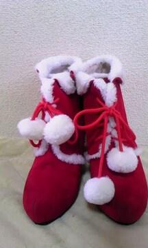 モバオクで買える「赤サンタクロースMショートブーツ新品」の画像です。価格は10円になります。