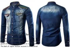 ◆民族刺繍 ビンテージ加工タンガリーシャツ◆2sizeから選択