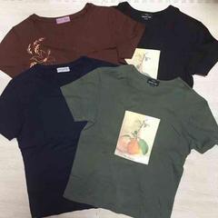 【used】秋色半袖Tシャツ4枚セット/L/カーキ,黒,ネイビー,茶色