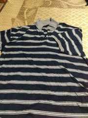 4L 紺色のボーダーポロシャツ