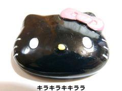 デコパーツブラック★フェイス型*キティちゃん