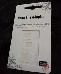 iPhone5/6 Nano SIM MicroSIM �ϊ��A�_�v�^ 3�_�Z�b�g �z���C�g