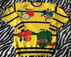 美品.セーター.果物.ボーダー.リブ.リンゴ.ぶどう.スイカ.ニット