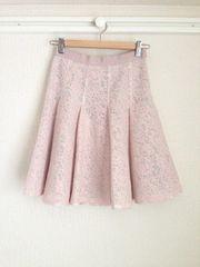 ジャスグリッティー ◆一度着美品◆ レースメッシュタックフレアスカート (ピンク) ♪