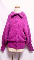 NICE CLAUP紫ウールアルパカループヤーン&レイヤードリブニットドルマンジャンパージャケット