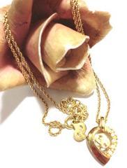 クリスチャンディオール/Dior ロゴストーンゴールドネックレス