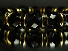 ★ブラックスタイル★64面ダイヤカットオニキス12mm数珠ブレスレット