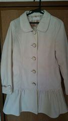 リズリサ白リボン付きフリルコート花柄裏地姫系ホワイトコート