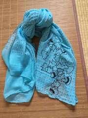 定形外込。mintneko・ドット&バブルネコ柄ストール。ブルー