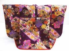 正絹ミニチュア着物=振袖&衣桁セット紫地のし古典花紋様 インテリア飾り
