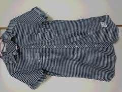 紺×白 ギンガムチェック シャツワンピ