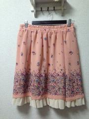 美品オリーブ・デ・オリーブ大きいサイズ3L4L裾レーススカート