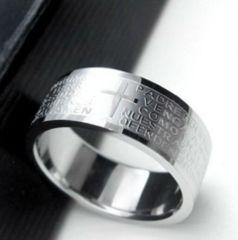 新品 1円〜★送料無料★ 16号 シルバーリング チタン鋼 十字架聖書 指輪