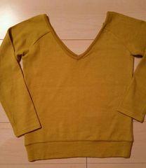 ●CHIC●黄緑Vネック ニット/sizeS
