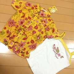 新品◆コットンシャツブラウス&キャミソール◆2枚セット110半袖