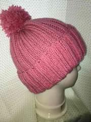 手編みニット帽子 ローズピンク