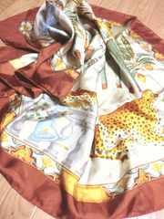 フェラガモ/Feragamo虎絵柄アンティークロゴシルク上質スカーフ