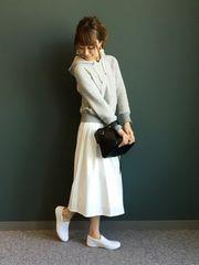 ランダ RANDA ◆新品タグ付き◆ ミモレ丈タックフレアスカート (ホワイト) ♪