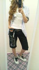 men's様L♂ スカル&メッセージ☆7分丈ブラックホットパンツ(^^♪