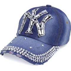 帽子♪ビジュー×ストーン NY ニューヨーク キャップ デニム