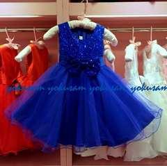 新作★140★ロイヤルブルーの豪華スパンコールとリボンのドレス