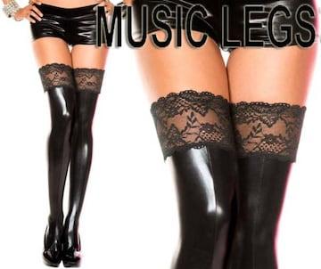 モバオク:ウェットティッシュ A61)MusicLegsウェットルックサイハイタイツ黒ボンテージ女王様ダンスダンサー衣装B系