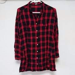 GUジーユー 赤レッド×黒ブラックチェック柄ワンピース Mサイズ
