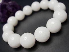 天然石3A漢白玉(ホワイトジェード)約14ミリ数珠ブレス