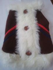売り切り・小型犬用 フェイクファー コート(茶)サイズ3