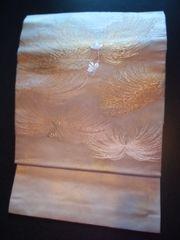 シャンパン金白糸菊*帯正絹ナゴヤ美品レタパR