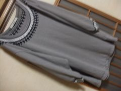 shuca*グレー七分袖カットソーS*ナチュラル*クリックポスト164円