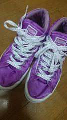 プーマ紫色スニーカー運動靴ラメ靴紐デザイン23サイズ